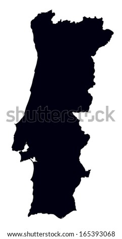 black and white map of Portugal - stock vector