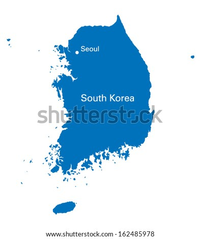 black and white map of South Korea - stock vector
