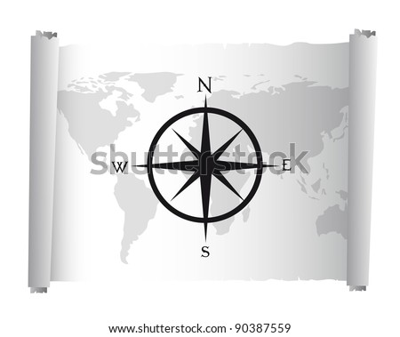 black and white map over parchment with compass rose vector - stock vector