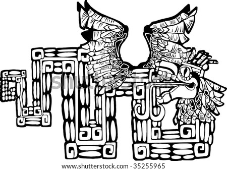 Black and White Mayan Kukulcan Image possible tattoo. - stock vector