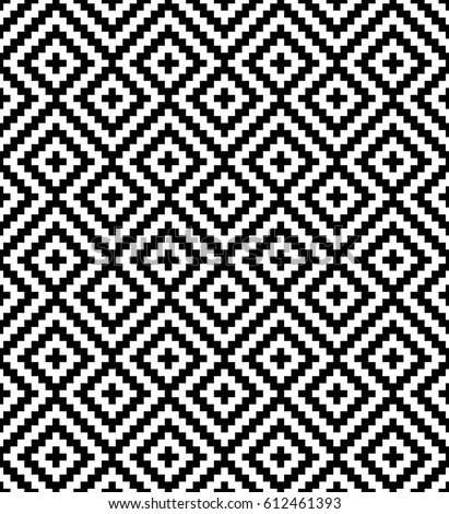 Black and white meander pixel art pattern monochrome seamless pattern for modern design in flat