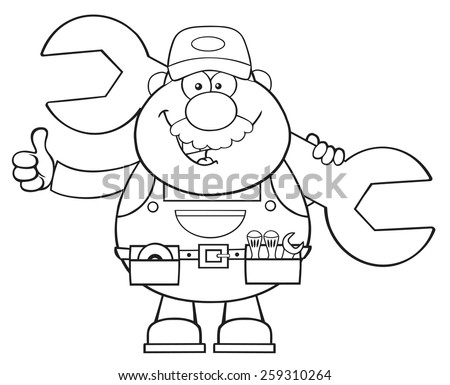 Black And White Mechanic Cartoon Character Holding Huge Wrench And Giving A Thumb Up. Vector Illustration Isolated On White - stock vector