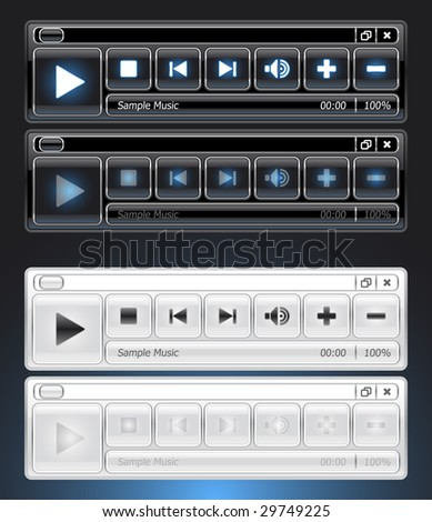 black and white media player interface skin