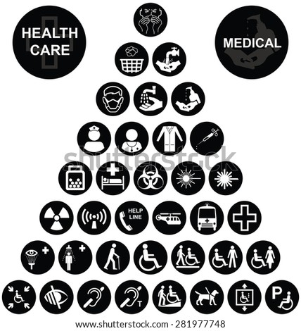 Black and white Medical and health care related pyramid icon collection isolated on white background - stock vector