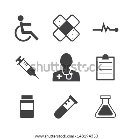 Black and white Medical Icons on retro Background.Vector EPS 10 - stock vector