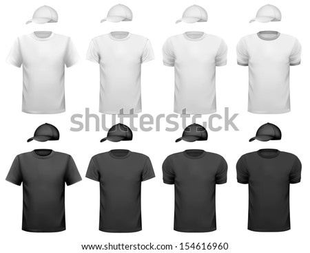 Black and white men polo shirt and cup. Design template. Vector illustration  - stock vector