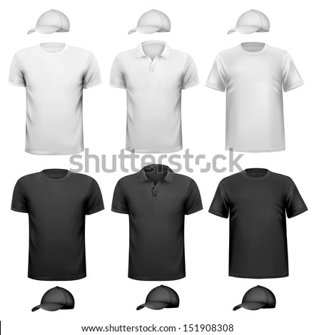 Black and white  men shirt and cup. Design template. Vector illustration  - stock vector