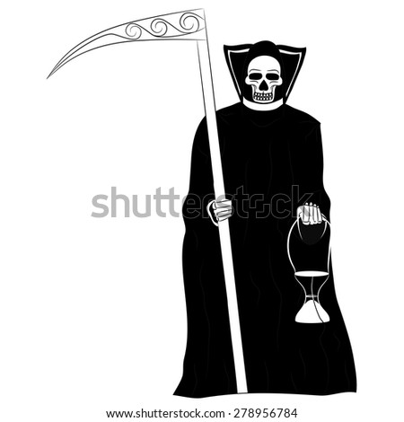 Black and white Mexican death in a black gown with a scythe in one hand and with an hourglass in his other hand on a white background