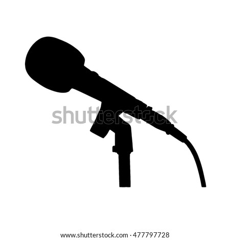 Black and white microphone with stand and cable silhouette