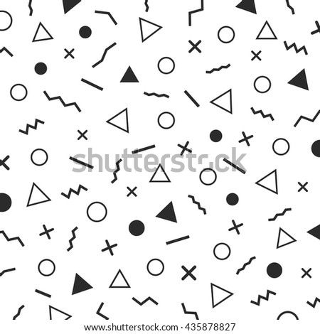 black and white minimal background, the era 80's - 90's years memphis design, isolated on white background