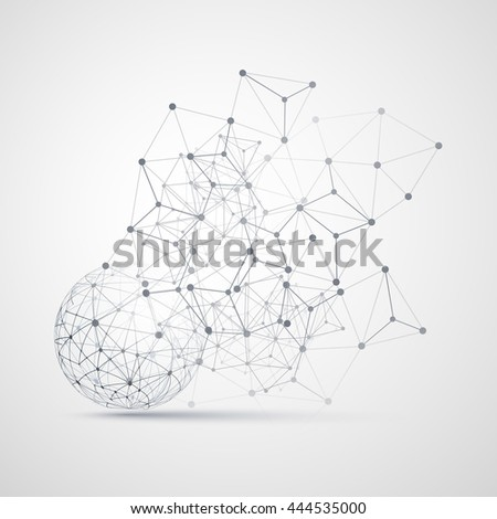 Black and White Minimal Cloud Computing, Networks Structure, Telecommunications Concept Design, Modern Style Globe and Network Connections, Transparent Geometric Wireframe - Vector Illustration - stock vector
