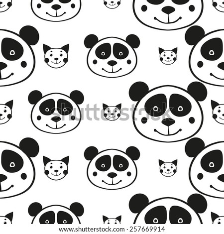 Black and white minimalist cat and Panda seamless pattern for nursery wallpaper. Set of isolated funny cute decorative symbols and elements. Chess grid order pattern. - stock vector