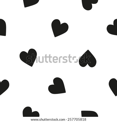 Black and white minimalist heart seamless pattern for nursery wallpaper. Set of isolated funny cute decorative symbols and elements. Chess grid order pattern. - stock vector