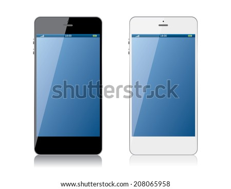 Black and white mobile phone - stock vector