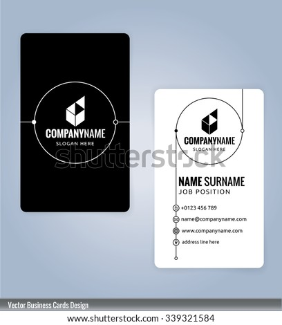 Black and white modern business card template, Illustration Vector 10 - stock vector