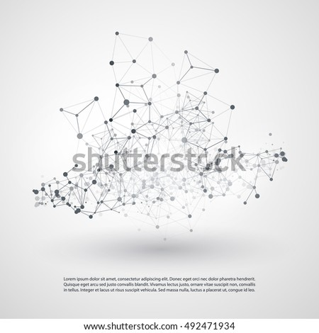 Black and White Modern Minimal Style Cloud Computing, Networks Structure, Telecommunications Concept Design, Network Connections, Transparent Geometric Wireframe - Vector Illustration