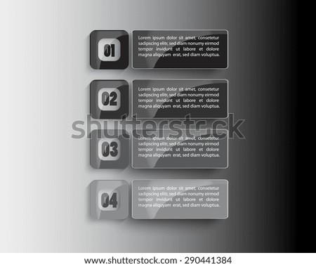 black and white Modern spiral infographics options banner. Vector illustration.  number options, web design. - stock vector