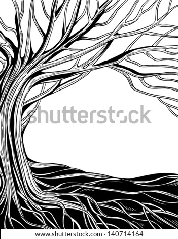 black and white monochrome abstract vector tree - stock vector