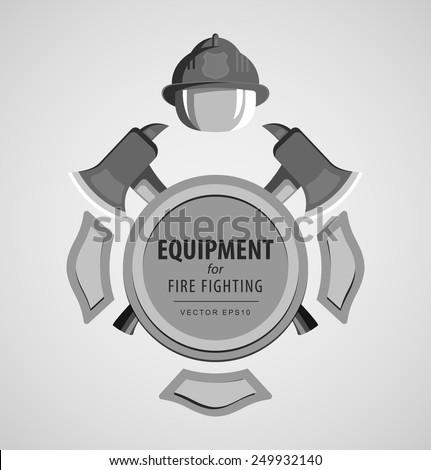 Black and white monochrome vector illustration, icon. Firefighter Emblem or volunteer. Maltese cross, shield, ax, fireman helmet. Element for the magnet on the fridge or print for a T-shirt. - stock vector