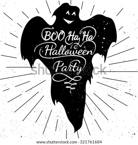 Black and white motivational posters All Halloween Eve. Halloween calligraphy with ghost shape. Inspirational  typography. Hand drawn typography poster Halloween party - stock vector