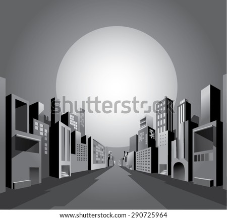 Black and white night city skyline in depth perspective view with big moon, graphic comic style. - stock vector