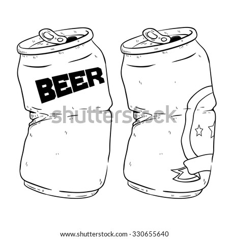 Black And White Of Two Broken Beer Cans Drink With Doodle Or Sketchy Style