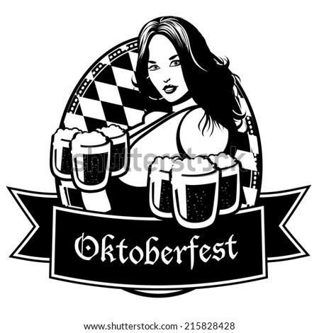 Black and whIte Oktoberfest icon EPS 10 vector - stock vector