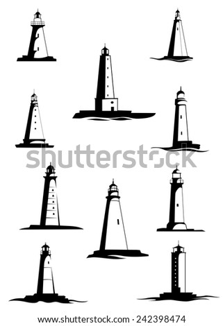 Black and white old lighthouses, towers for maritime navigational guidance, isolated on white - stock vector