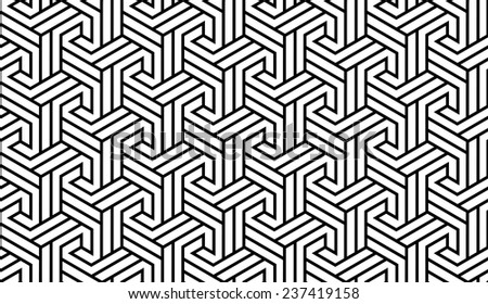 Black and White Optical Geometric Seamless for Printing on Fabric. Abstract Background with Pattern in Swatches Panel  - stock vector
