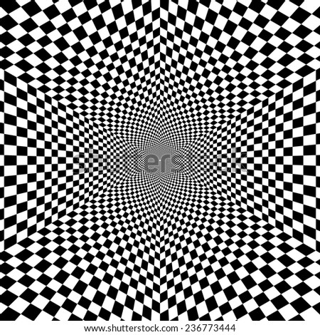 Black and white optical illusion hexagon vector pattern, background, texture - stock vector