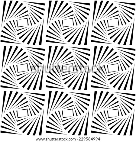 Black and white optical illusion. Op art vector background with frame. Abstract lines distortion effect - stock vector
