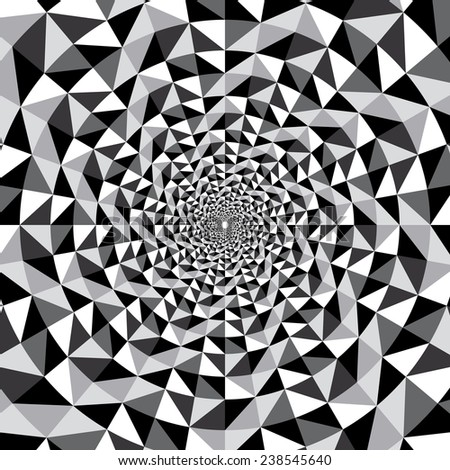 Black and white optical illusion triangle vector hypnotic background - stock vector