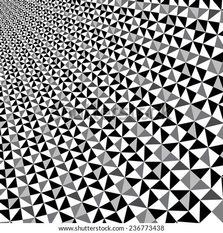 Black and white optical illusion triangle vector pattern, background, texture  - stock vector