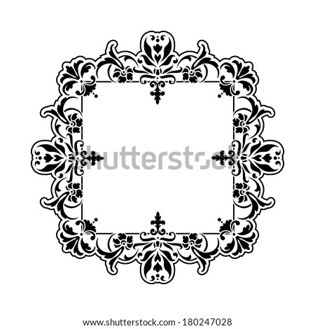 Black and white oriental style frame  (Persian, Arabian, Gypsy or Indian) - stock vector