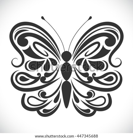 Black and white ornamental butterfly vector shape. - stock vector