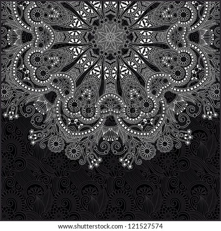 black and white ornamental circle template with floral background - stock vector