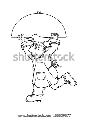 Black and white outline, Chef running and carrying a huge plate, vector illustration