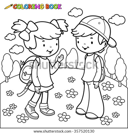Black and white outline image of a girl and a boy students. Coloring book page. - stock vector