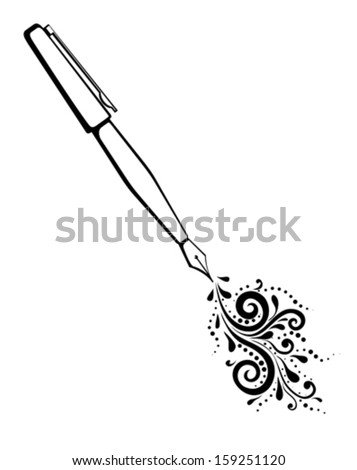 black and white outline of an ink pen with a painted floral design of curves and curls.  - stock vector