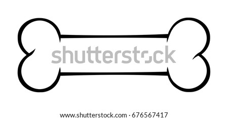 Black And White Outlined Dog Bone Cartoon Drawing Simple Design. Vector Illustration Isolated On White Background