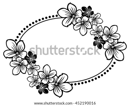 Black And White Oval Frame With Abstract Flowers Silhouettes Vector Clip Art