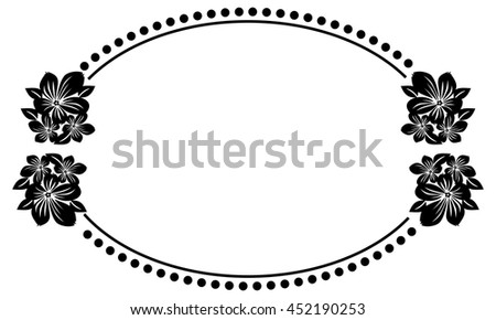 Black White Oval Frame Abstract Flowers Stock Vector 452190253 ...