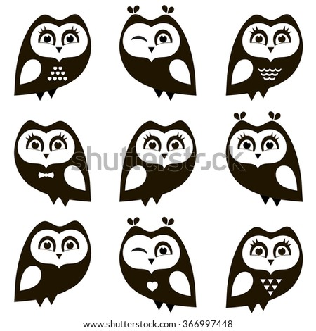 Black and white owls and owlets - stock vector