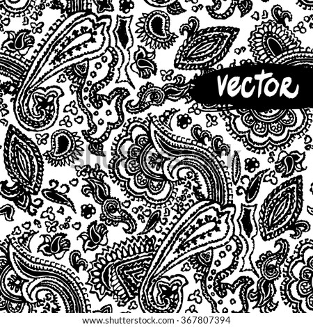 Black and white paisley ornament floral elements on a white background. Vector primitive paisley patterns seamless. Hand drawn vector floral - stock vector