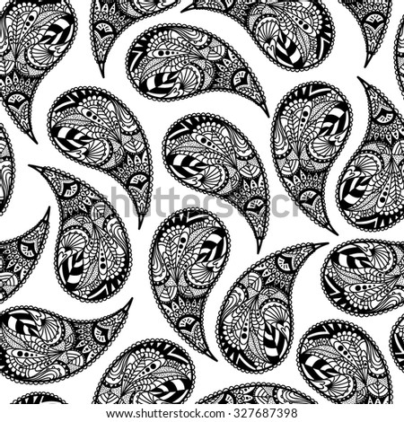 Black and white paisley pattern. Handmade. Turkish cucumber. Vector illustration.