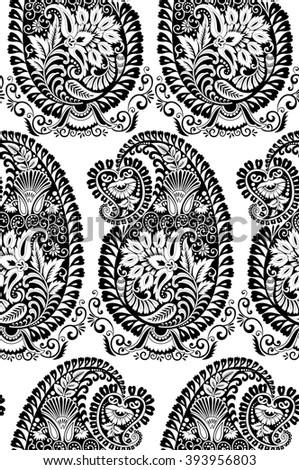 Black And White Paisley Pattern Wallpaper