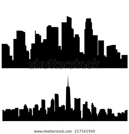 Black and white panorama cities - stock vector