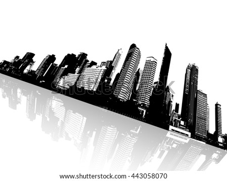Black and white panorama of cityscape placed in angle. - stock vector
