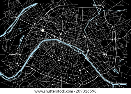Black and white paris map - stock vector