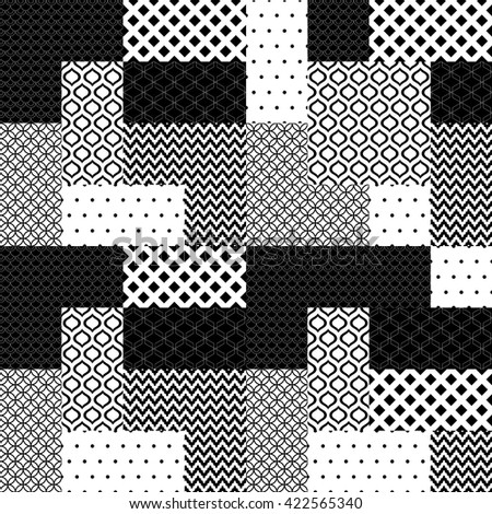 Black and white patchwork quilted geometric seamless pattern, vector - stock vector
